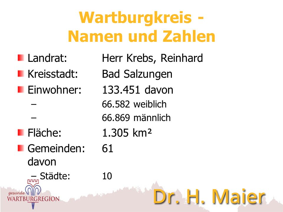 Wartburgkreis - Namen und Zahlen Landrat:Herr Krebs, Reinhard Kreisstadt:Bad Salzungen Einwohner:133.451 davon – 66.582 weiblich – 66.869 männlich Flä