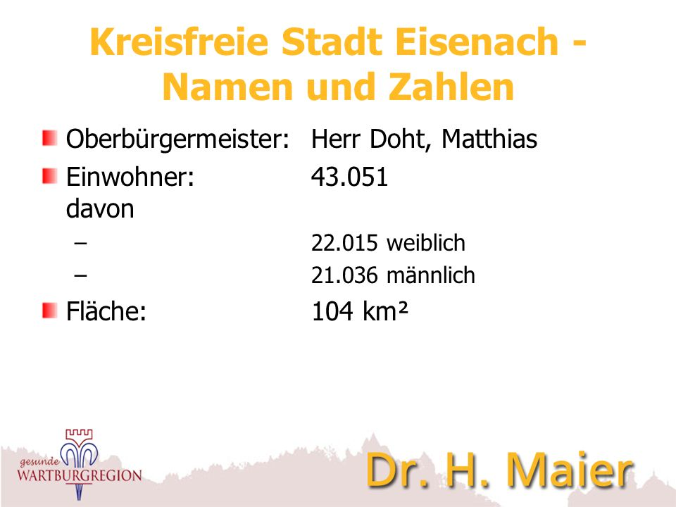 Kreisfreie Stadt Eisenach - Namen und Zahlen Oberbürgermeister:Herr Doht, Matthias Einwohner:43.051 davon – 22.015 weiblich – 21.036 männlich Fläche:1