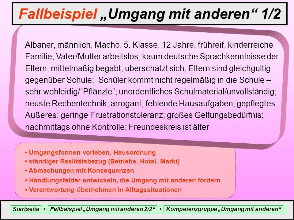 Albaner, männlich, Macho, 5. Klasse, 12 Jahre, frühreif, kinderreiche Familie; Vater/Mutter arbeitslos; kaum deutsche Sprachkenntnisse der Eltern, mit