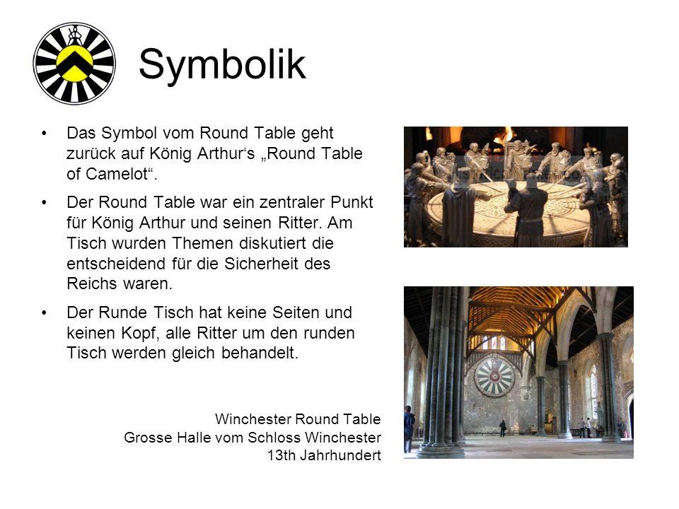 Symbolik Das Symbol vom Round Table geht zurück auf König Arthurs Round Table of Camelot.