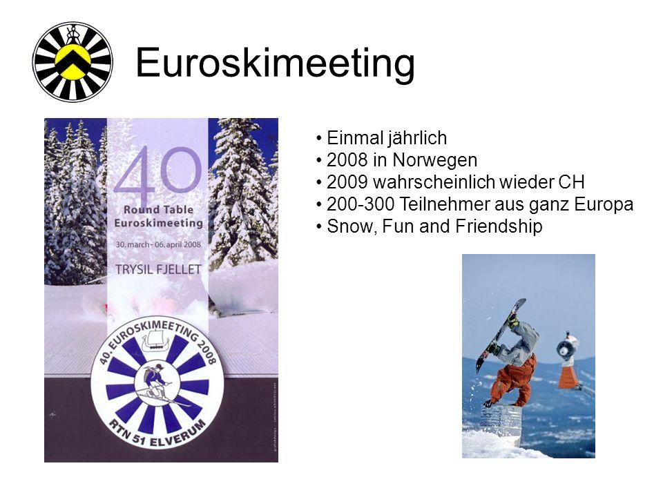 Euroskimeeting Einmal jährlich 2008 in Norwegen 2009 wahrscheinlich wieder CH 200-300 Teilnehmer aus ganz Europa Snow, Fun and Friendship
