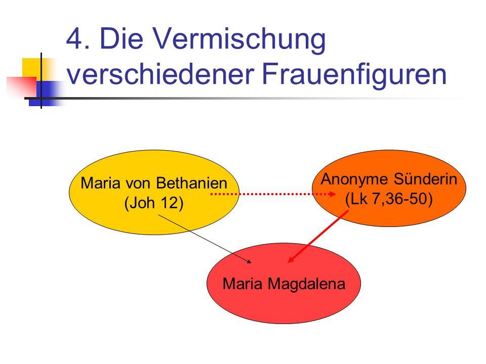 4. Die Vermischung verschiedener Frauenfiguren Maria Magdalena Maria von Bethanien (Joh 12) Anonyme Sünderin (Lk 7,36-50)
