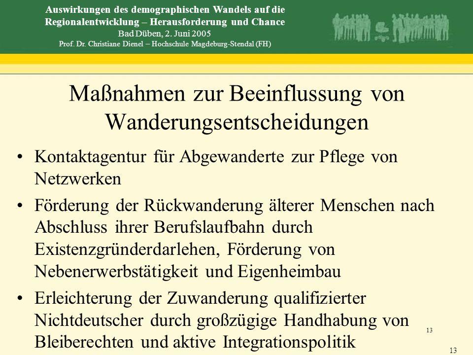 Auswirkungen des demographischen Wandels auf die Regionalentwicklung – Herausforderung und Chance Bad Düben, 2. Juni 2005 Prof. Dr. Christiane Dienel