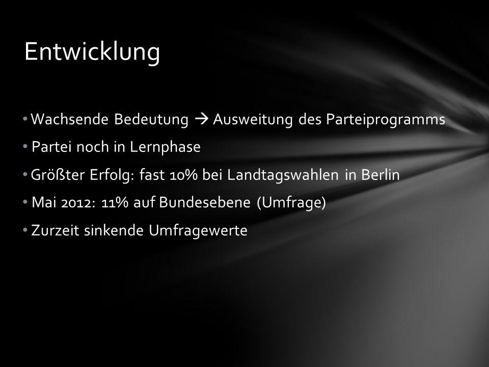 Wachsende Bedeutung Ausweitung des Parteiprogramms Partei noch in Lernphase Größter Erfolg: fast 10% bei Landtagswahlen in Berlin Mai 2012: 11% auf Bundesebene (Umfrage) Zurzeit sinkende Umfragewerte Entwicklung