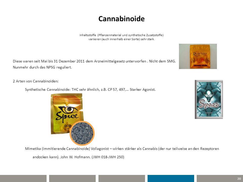 20 Cannabinoide Inhaltsstoffe (Pflanzenmaterial und synthetische Zusatzstoffe) variieren (auch innerhalb einer Sorte) sehr stark. Diese waren seit Mai