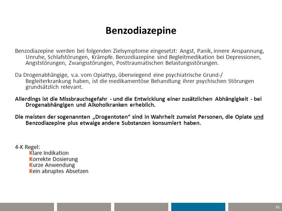 32 Benzodiazepine Benzodiazepine werden bei folgenden Zielsymptome eingesetzt: Angst, Panik, innere Anspannung, Unruhe, Schlafstörungen, Krämpfe. Benz