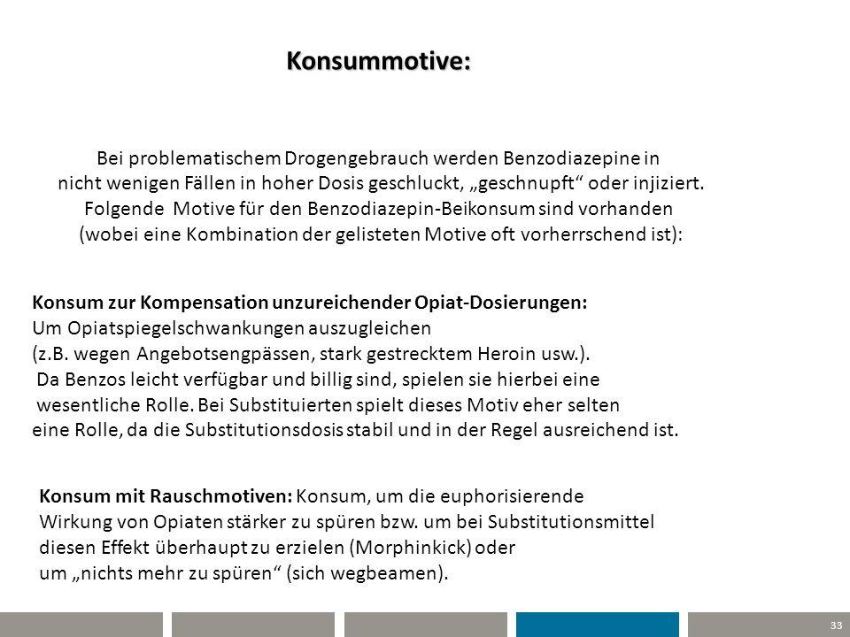 33 Konsummotive: Bei problematischem Drogengebrauch werden Benzodiazepine in nicht wenigen Fällen in hoher Dosis geschluckt, geschnupft oder injiziert
