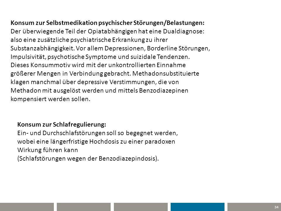 34 Konsum zur Selbstmedikation psychischer Störungen/Belastungen: Der überwiegende Teil der Opiatabhängigen hat eine Dualdiagnose: also eine zusätzlic
