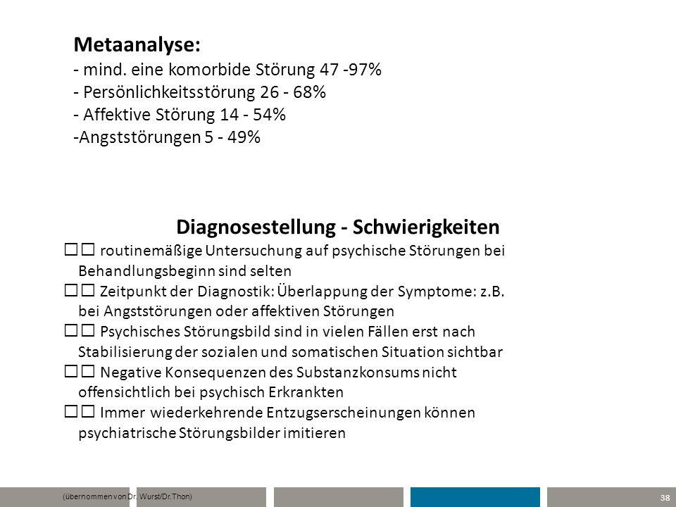 38 Diagnosestellung - Schwierigkeiten routinemäßige Untersuchung auf psychische Störungen bei Behandlungsbeginn sind selten Zeitpunkt der Diagnostik: