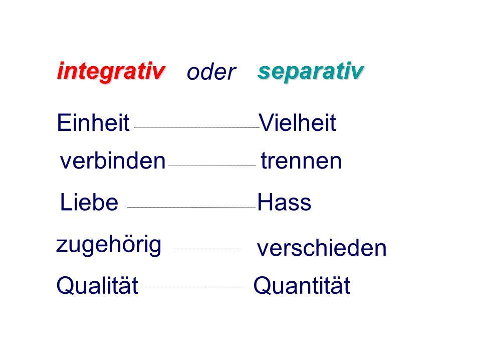 EinheitVielheit Qualität verbinden Liebe zugehörig Quantität trennen Hass verschieden integrativseparativ oder