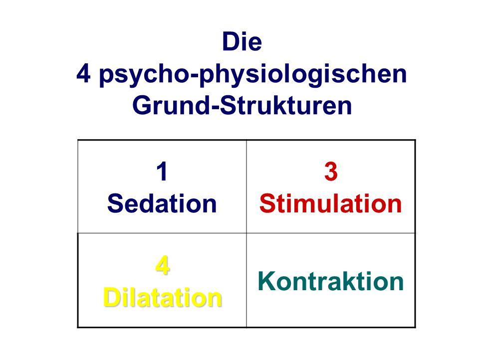 Die 4 psycho-physiologischen Grund-Strukturen 1 Sedation 3 Stimulation 4 Dilatation Kontraktion