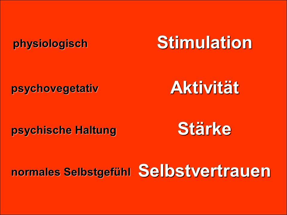 Stimulation Stärke Aktivität Selbstvertrauenphysiologisch psychische Haltung psychovegetativ normales Selbstgefühl