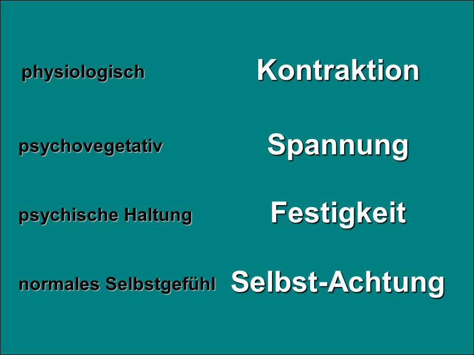 Kontraktion Festigkeit Spannung Selbst-Achtungphysiologisch psychische Haltung psychovegetativ normales Selbstgefühl