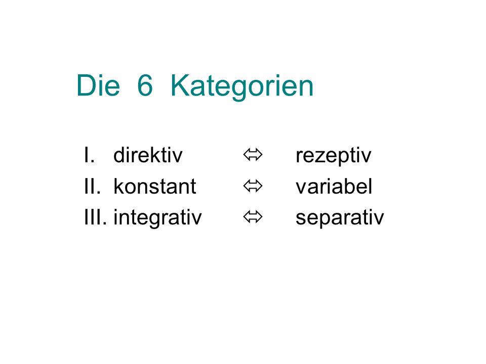 Die 6 Kategorien I. direktiv rezeptiv II. konstant variabel III. integrativ separativ