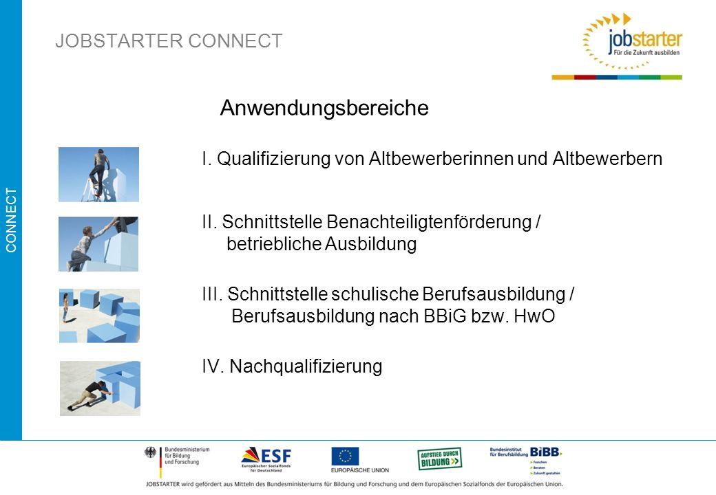 CONNECT I. Qualifizierung von Altbewerberinnen und Altbewerbern II. Schnittstelle Benachteiligtenförderung / betriebliche Ausbildung III. Schnittstell