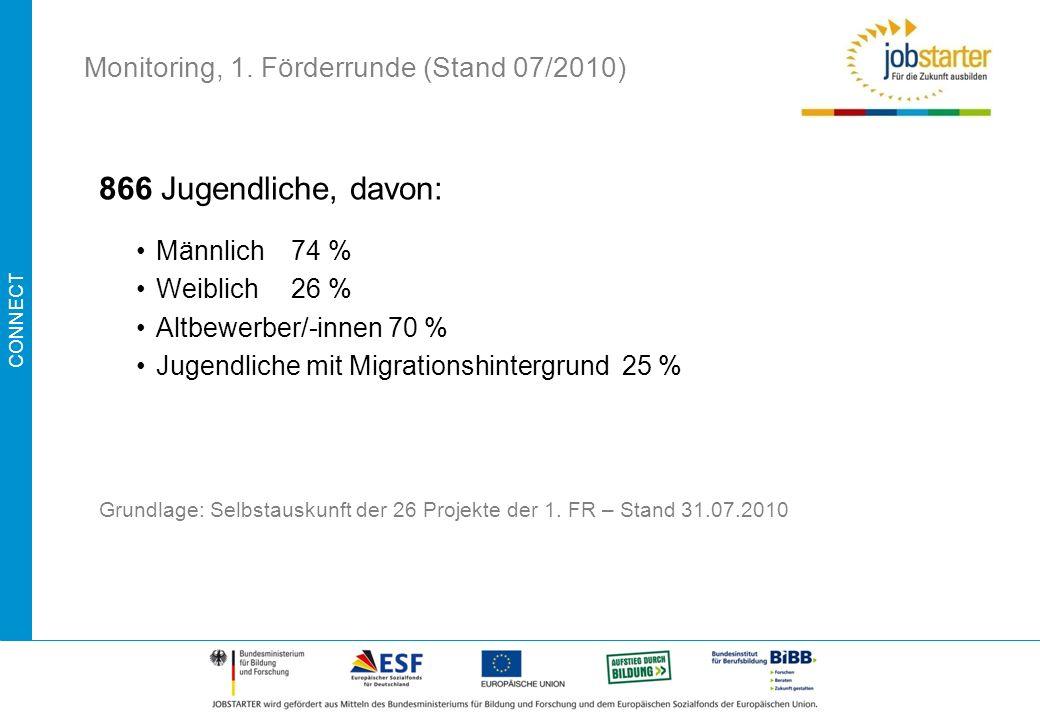 CONNECT 866 Jugendliche, davon: Männlich74 % Weiblich26 % Altbewerber/-innen 70 % Jugendliche mit Migrationshintergrund 25 % Grundlage: Selbstauskunft