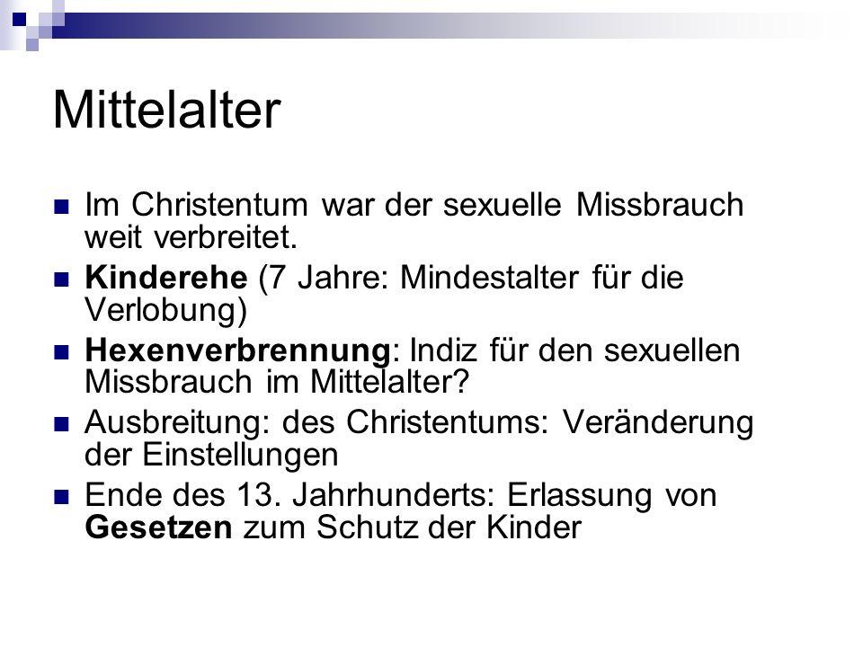 Mittelalter Im Christentum war der sexuelle Missbrauch weit verbreitet.