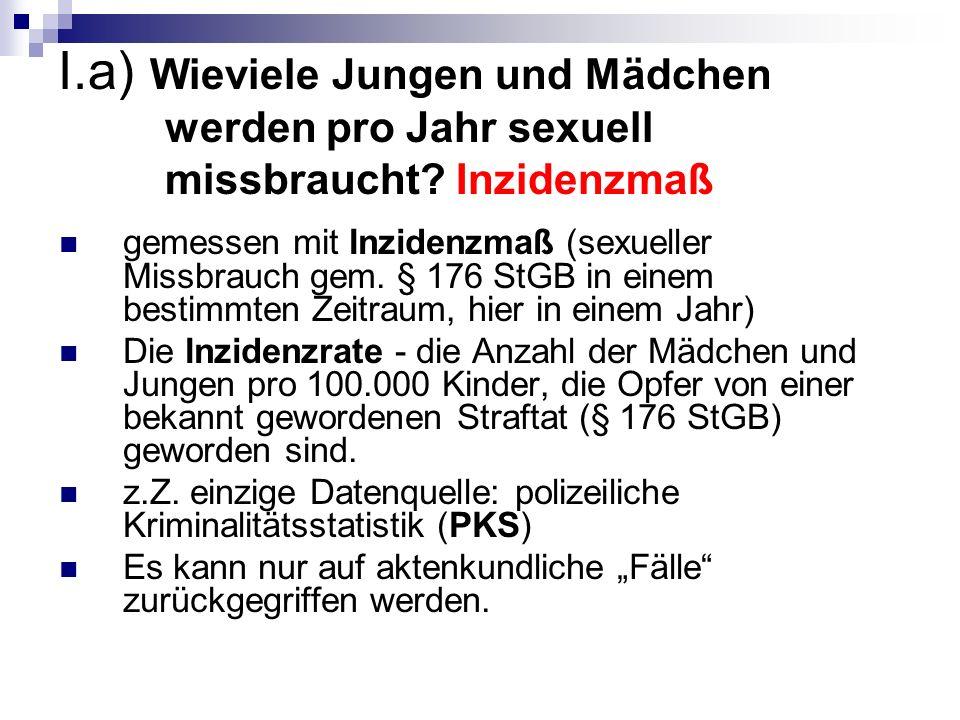 I.a) Wieviele Jungen und Mädchen werden pro Jahr sexuell missbraucht.