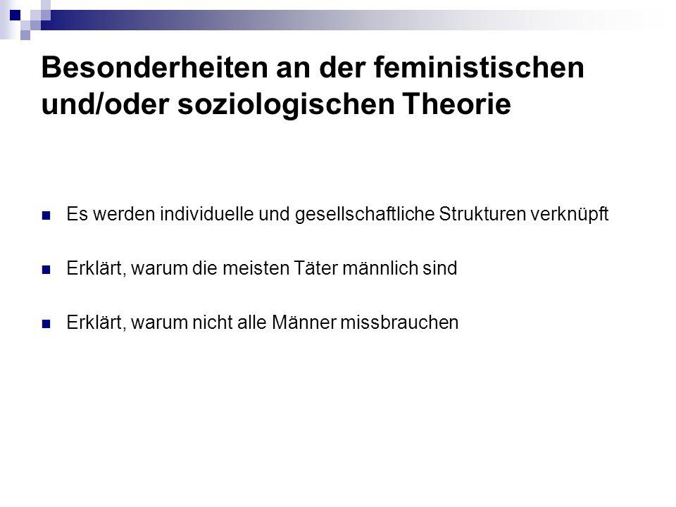 Besonderheiten an der feministischen und/oder soziologischen Theorie Es werden individuelle und gesellschaftliche Strukturen verknüpft Erklärt, warum die meisten Täter männlich sind Erklärt, warum nicht alle Männer missbrauchen
