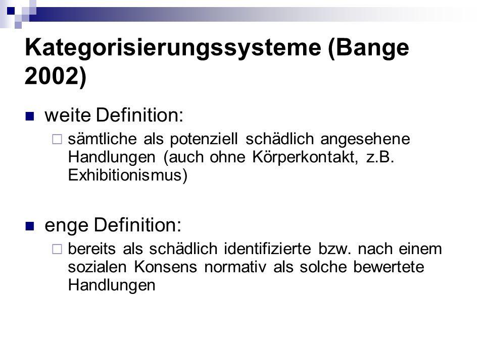 Kategorisierungssysteme (Bange 2002) weite Definition: sämtliche als potenziell schädlich angesehene Handlungen (auch ohne Körperkontakt, z.B.