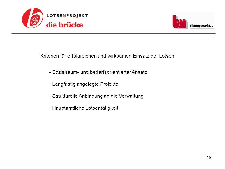 19 - Sozialraum- und bedarfsorientierter Ansatz - Langfristig angelegte Projekte - Strukturelle Anbindung an die Verwaltung - Hauptamtliche Lotsentäti