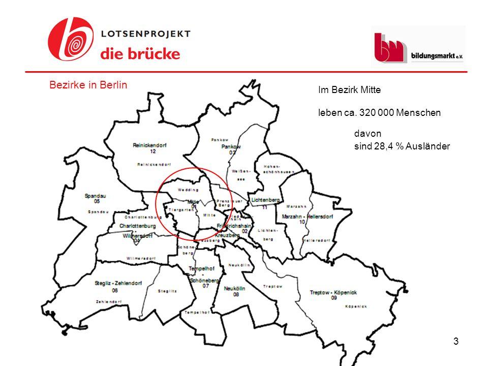 3 Im Bezirk Mitte leben ca. 320 000 Menschen Bezirke in Berlin davon sind 28,4 % Ausländer
