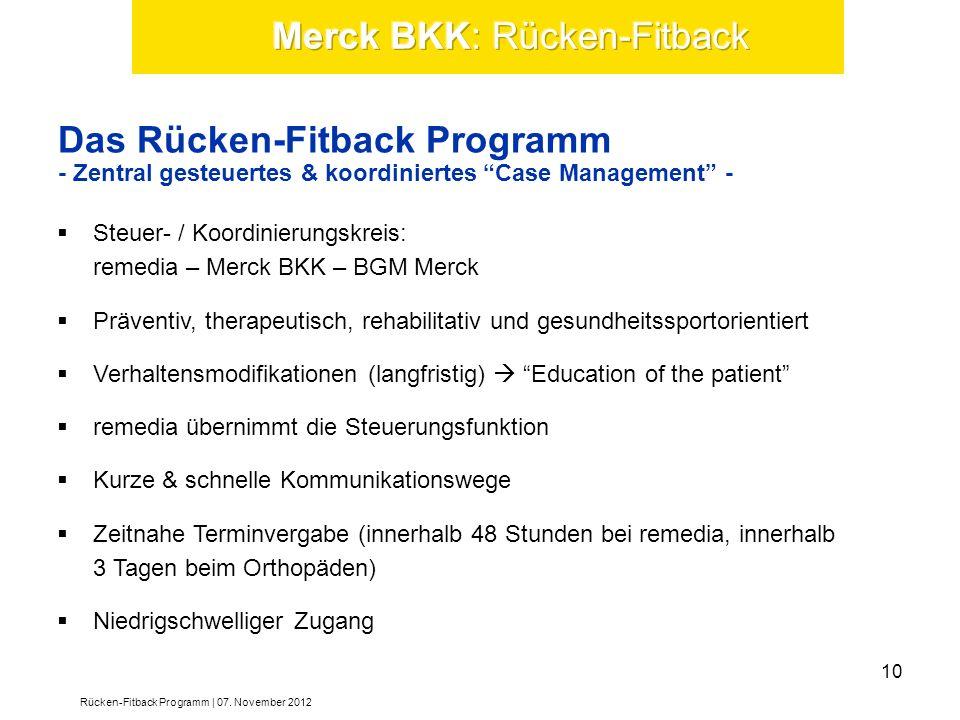 Steuer- / Koordinierungskreis: remedia – Merck BKK – BGM Merck Präventiv, therapeutisch, rehabilitativ und gesundheitssportorientiert Verhaltensmodifi