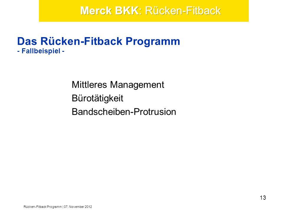 Das Rücken-Fitback Programm - Fallbeispiel - Mittleres Management Bürotätigkeit Bandscheiben-Protrusion Rücken-Fitback Programm | 07. November 2012 13