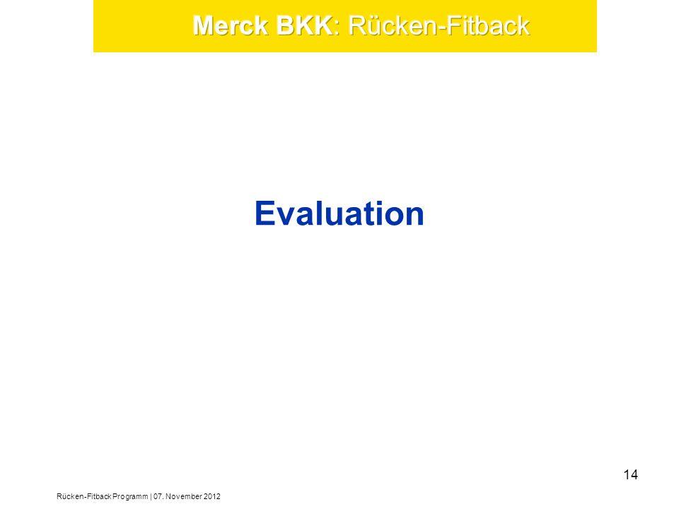 Evaluation Rücken-Fitback Programm | 07. November 2012 14