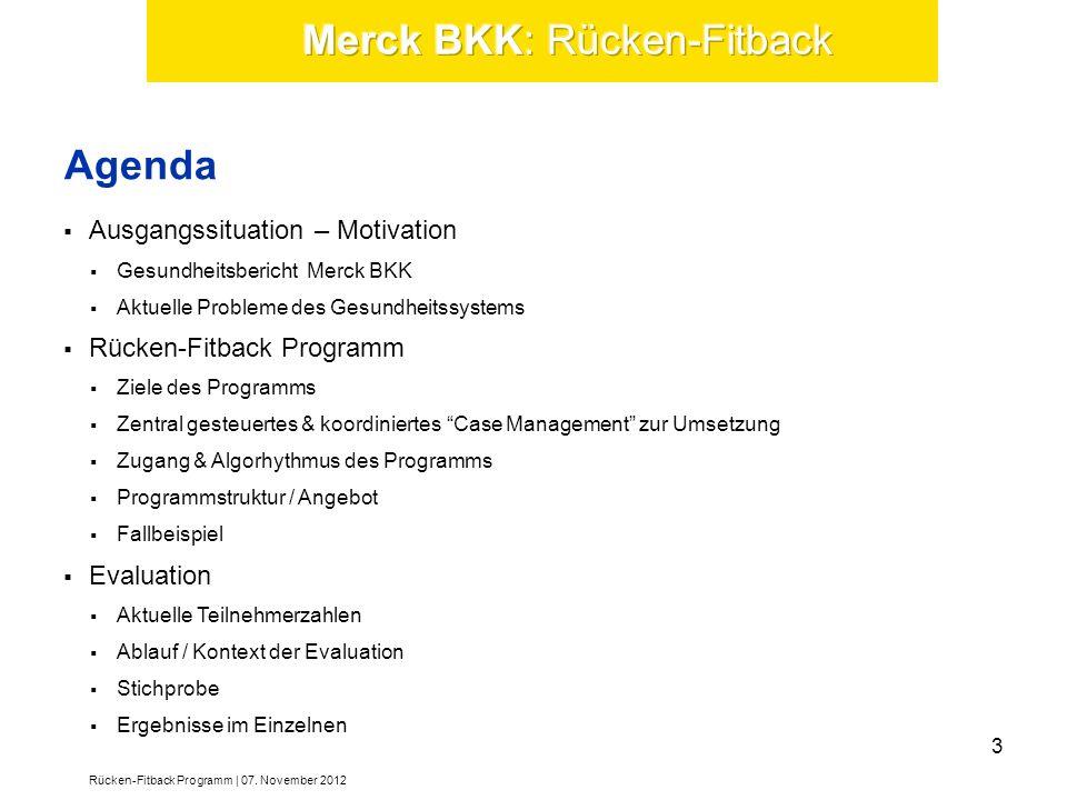 Ausgangssituation – Motivation Gesundheitsbericht Merck BKK Aktuelle Probleme des Gesundheitssystems Rücken-Fitback Programm Ziele des Programms Zentr