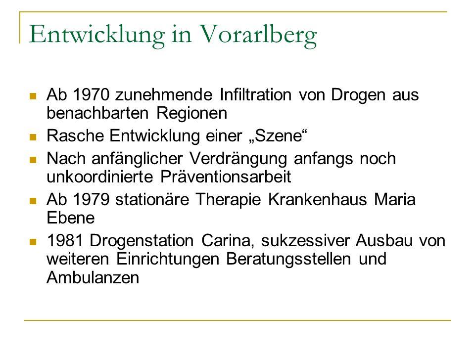 Entwicklung in Vorarlberg Ab 1970 zunehmende Infiltration von Drogen aus benachbarten Regionen Rasche Entwicklung einer Szene Nach anfänglicher Verdrä