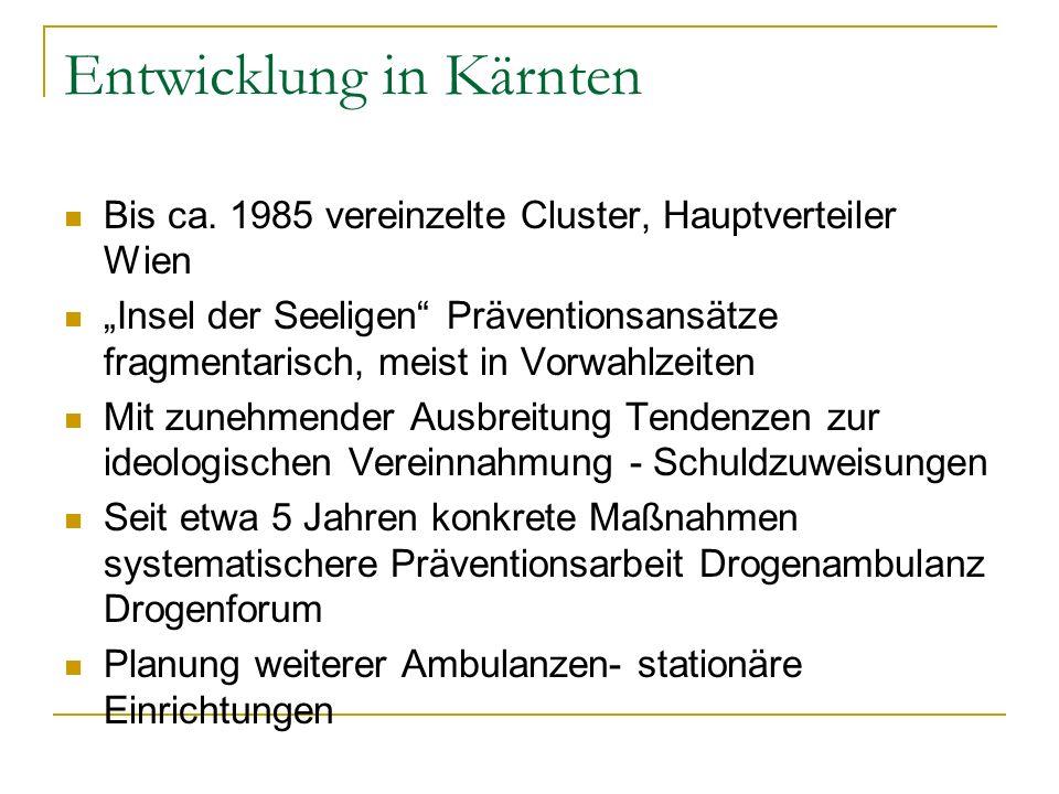Entwicklung in Kärnten Bis ca. 1985 vereinzelte Cluster, Hauptverteiler Wien Insel der Seeligen Präventionsansätze fragmentarisch, meist in Vorwahlzei