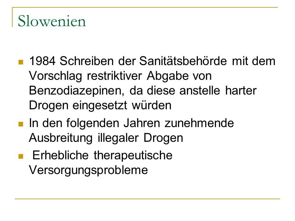 Slowenien 1984 Schreiben der Sanitätsbehörde mit dem Vorschlag restriktiver Abgabe von Benzodiazepinen, da diese anstelle harter Drogen eingesetzt wür