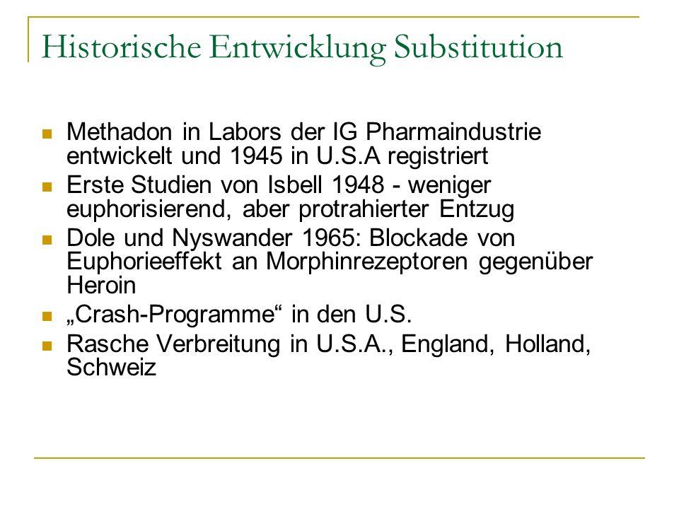 Historische Entwicklung Substitution Methadon in Labors der IG Pharmaindustrie entwickelt und 1945 in U.S.A registriert Erste Studien von Isbell 1948