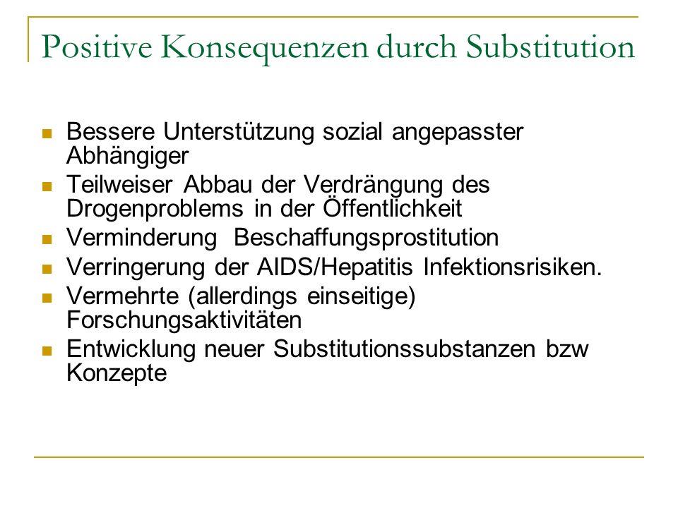 Positive Konsequenzen durch Substitution Bessere Unterstützung sozial angepasster Abhängiger Teilweiser Abbau der Verdrängung des Drogenproblems in de