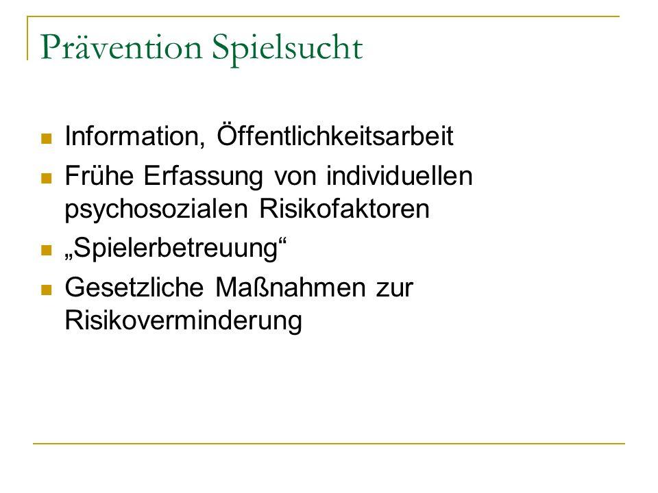 Prävention Spielsucht Information, Öffentlichkeitsarbeit Frühe Erfassung von individuellen psychosozialen Risikofaktoren Spielerbetreuung Gesetzliche