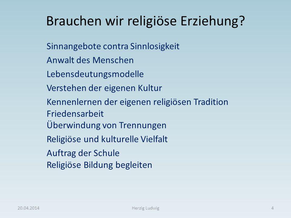 Brauchen wir religiöse Erziehung? Sinnangebote contra Sinnlosigkeit Anwalt des Menschen Lebensdeutungsmodelle Verstehen der eigenen Kultur Kennenlerne