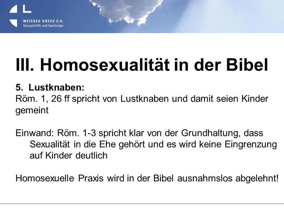 III. Homosexualität in der Bibel 5. Lustknaben: Röm. 1, 26 ff spricht von Lustknaben und damit seien Kinder gemeint Einwand: Röm. 1-3 spricht klar von