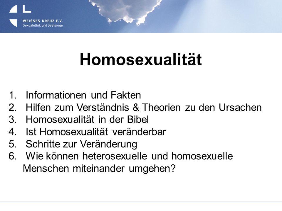 Homosexualität 1. Informationen und Fakten 2. Hilfen zum Verständnis & Theorien zu den Ursachen 3. Homosexualität in der Bibel 4. Ist Homosexualität v