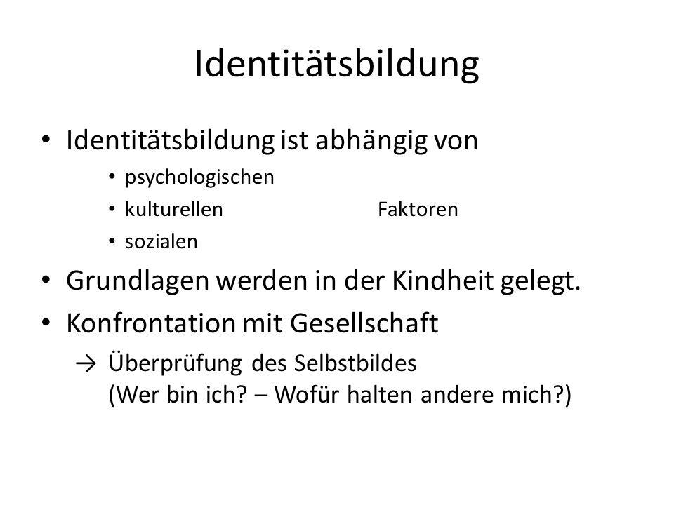 Identitätsbildung Identitätsbildung ist abhängig von psychologischen kulturellen Faktoren sozialen Grundlagen werden in der Kindheit gelegt.