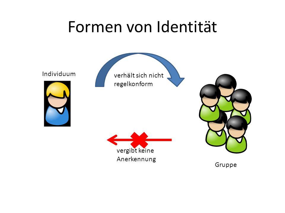 Formen von Identität vergibt keine Anerkennung Individuum verhält sich nicht regelkonform Gruppe