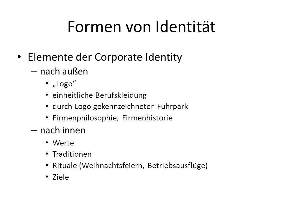 Formen von Identität Elemente der Corporate Identity – nach außen Logo einheitliche Berufskleidung durch Logo gekennzeichneter Fuhrpark Firmenphilosophie, Firmenhistorie – nach innen Werte Traditionen Rituale (Weihnachtsfeiern, Betriebsausflüge) Ziele