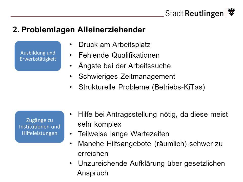 2. Problemlagen Alleinerziehender Druck am Arbeitsplatz Fehlende Qualifikationen Ängste bei der Arbeitssuche Schwieriges Zeitmanagement Strukturelle P