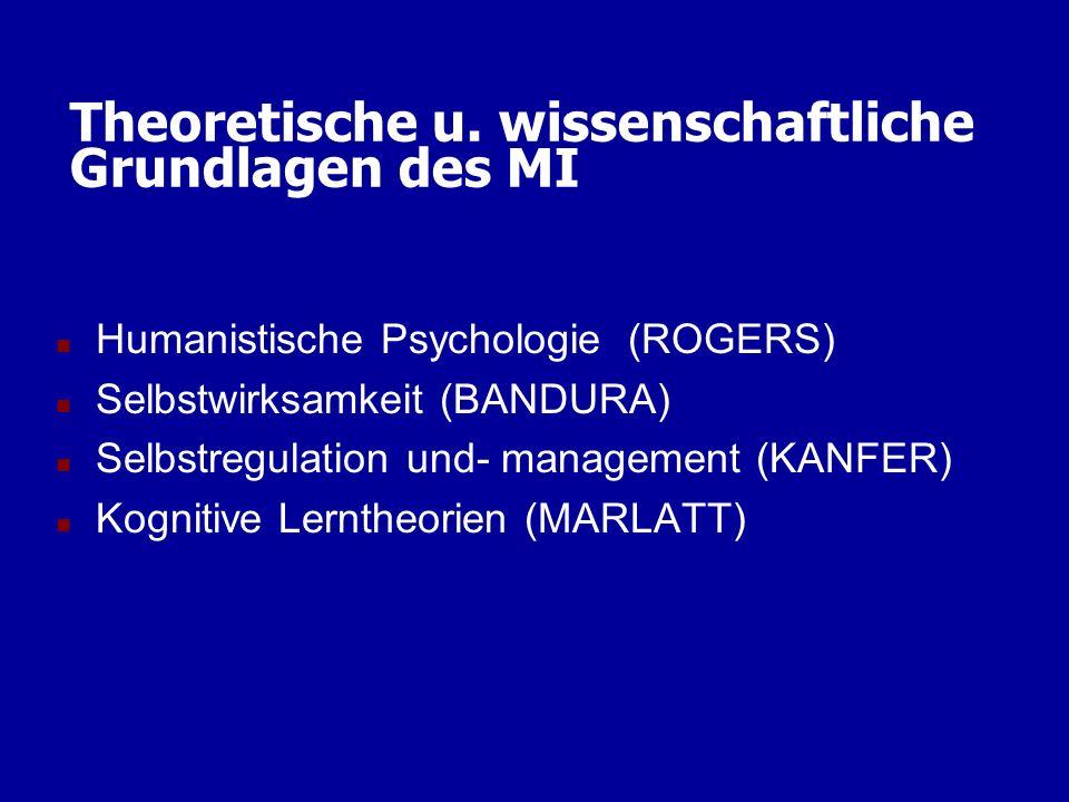 Theoretische u. wissenschaftliche Grundlagen des MI n Humanistische Psychologie (ROGERS) n Selbstwirksamkeit (BANDURA) n Selbstregulation und- managem