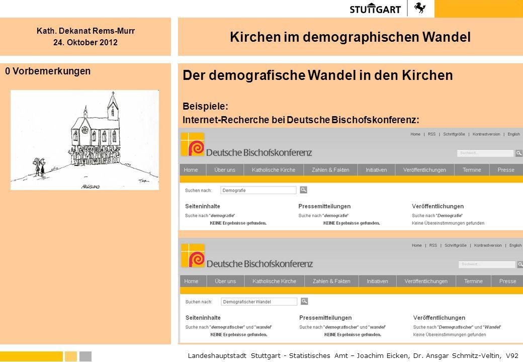 Kath. Dekanat Rems-Murr 24. Oktober 2012 Landeshauptstadt Stuttgart - Statistisches Amt – Joachim Eicken, Dr. Ansgar Schmitz-Veltin, V92 Kirchen im de
