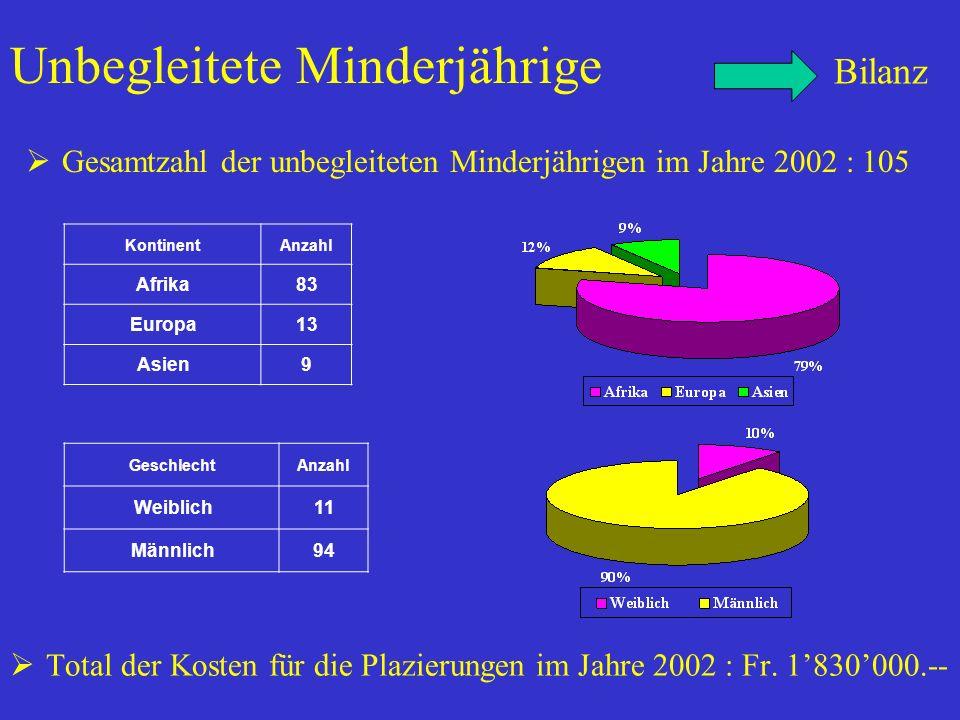 Unbegleitete Minderjährige Total der Kosten für die Plazierungen im Jahre 2002 : Fr.