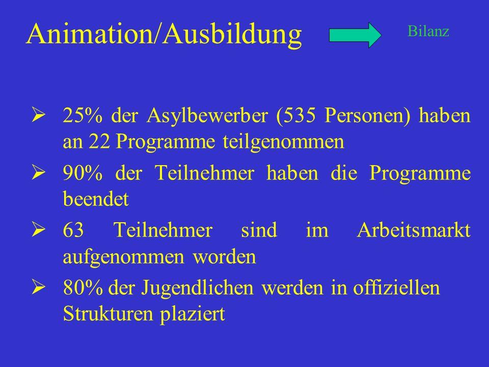 Animation/Ausbildung 25% der Asylbewerber (535 Personen) haben an 22 Programme teilgenommen 90% der Teilnehmer haben die Programme beendet 63 Teilnehmer sind im Arbeitsmarkt aufgenommen worden 80% der Jugendlichen werden in offiziellen Strukturen plaziert Bilanz