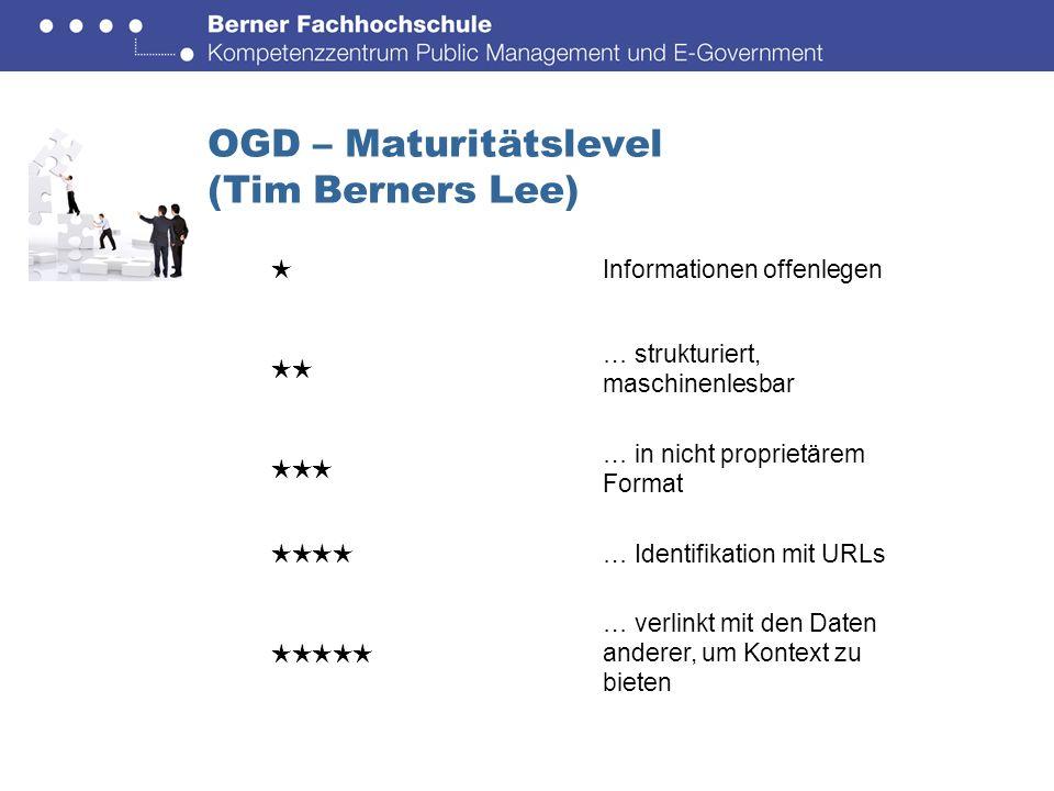 OGD – Maturitätslevel (Tim Berners Lee) Informationen offenlegen … strukturiert, maschinenlesbar … in nicht proprietärem Format … Identifikation mit URLs … verlinkt mit den Daten anderer, um Kontext zu bieten