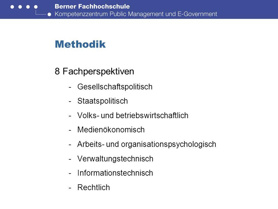 Methodik 8 Fachperspektiven -Gesellschaftspolitisch -Staatspolitisch -Volks- und betriebswirtschaftlich -Medienökonomisch -Arbeits- und organisationspsychologisch -Verwaltungstechnisch -Informationstechnisch -Rechtlich