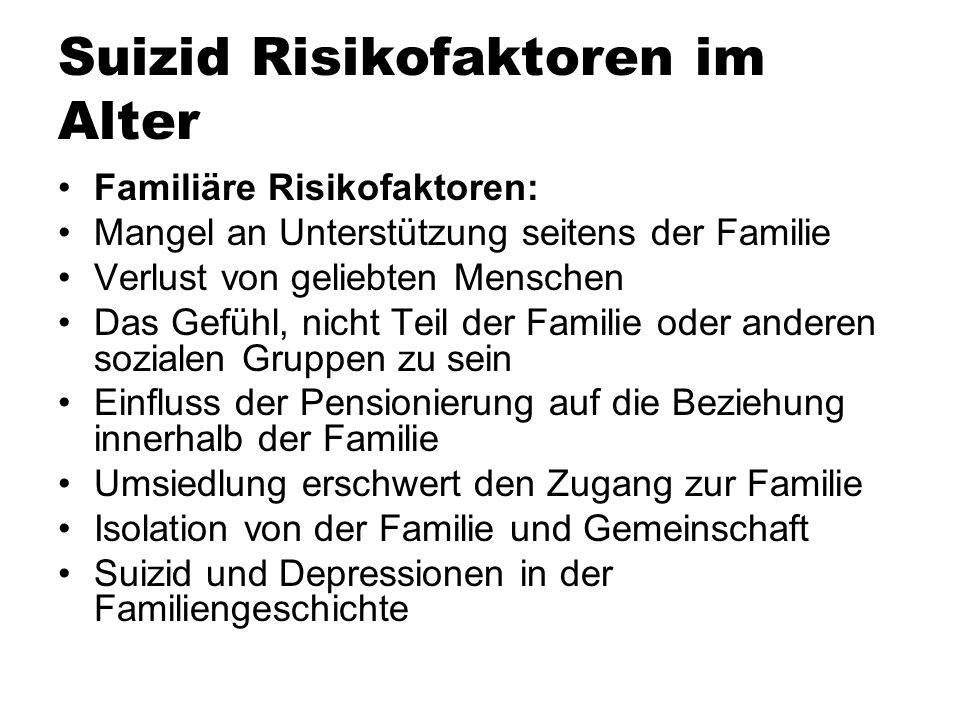 Suizid Risikofaktoren im Alter Familiäre Risikofaktoren: Mangel an Unterstützung seitens der Familie Verlust von geliebten Menschen Das Gefühl, nicht